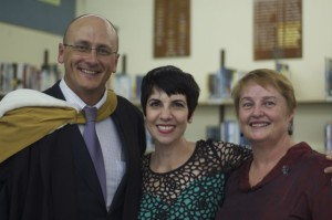 Deputy Principal Lance Raskall, Phyllis Foundis and Principal Heather Emerson  of Randwick Girls High School, 2013